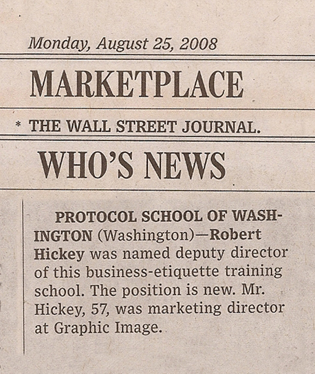 Marketplace - WSJ Who's News - Robert Hicket